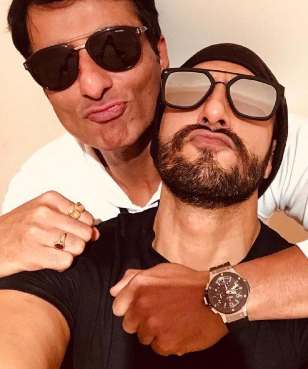 Image result for Bro Code Alert! Ranveer Singh bonds with Sonu Sood over a dubbing session for Simmba!