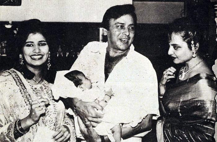 Rekha Is Actor Gemini Ganesan And Actress Pushpavalli S: Rare Photo: Vinod Mehra With Rekha, Wife Kiran And Baby