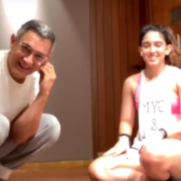 Aamir Khan indulges in a fun banter with daughter Ira Khan as he crashes her live workout video