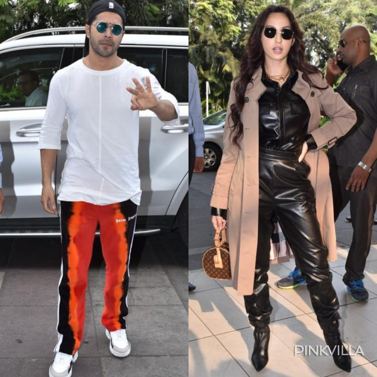 Airport PICS: Varun Dhawan looks dapper in casuals & blue shades; Nora Fatehi stuns in a black leather outfit