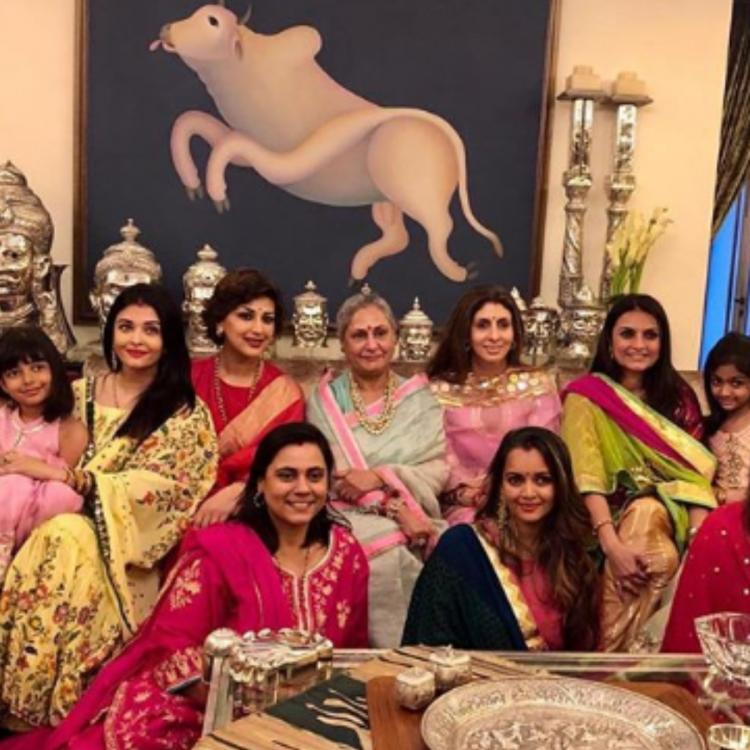 Karwa Chauth 2019: Aishwarya Rai Bachchan, Aaradhya & others pose for a happy picture from the celebrations