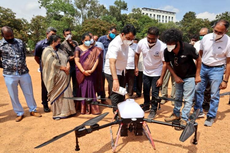Ajith's drone technology used to sanitize areas with disinfectants; Karnataka Deputy CM hails his efforts