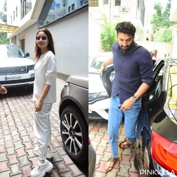 Sadak 2: Alia Bhatt opts for an easy breezy white look & Aditya Roy goes blue as they get papped for a meeting