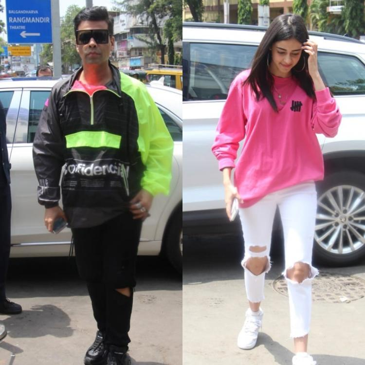 Ananya Panday and Karan Johar pop in bright outfits as they head for Sunday lunch; View Pics