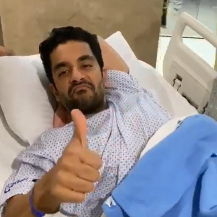 Angad Bedi undergoes knee surgery and Neha Dhupia cheers him up before the operation; Watch Video