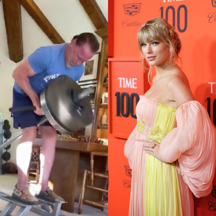 Arnold Schwarzenegger is working out to Taylor Swift music and his son Patrick has the most relatable reaction