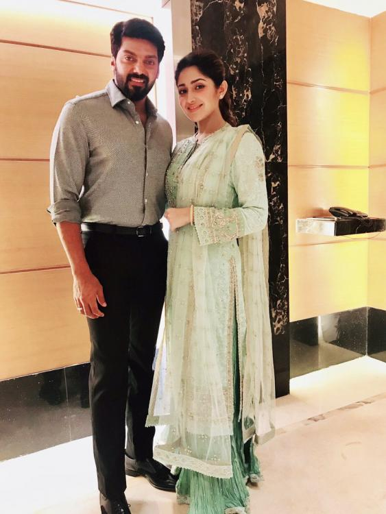 Arya and Sayyeshaa Saigal make a stunning pair in this picture from Kaappaan audio launch
