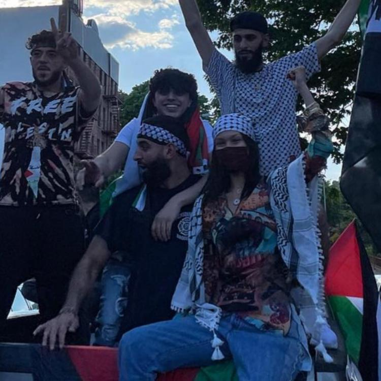 Bella Hadid marches in support of Palestine on New York's streets.