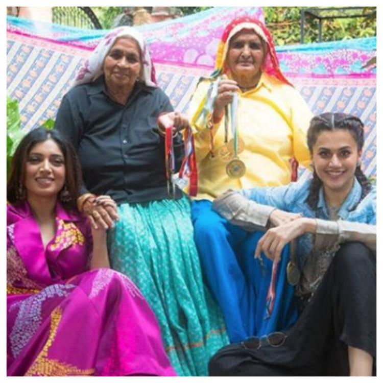 Taapsee Pannu and Bhumi Pednekar wish their fans Happy Holi from the sets of Saand Ki Aankh