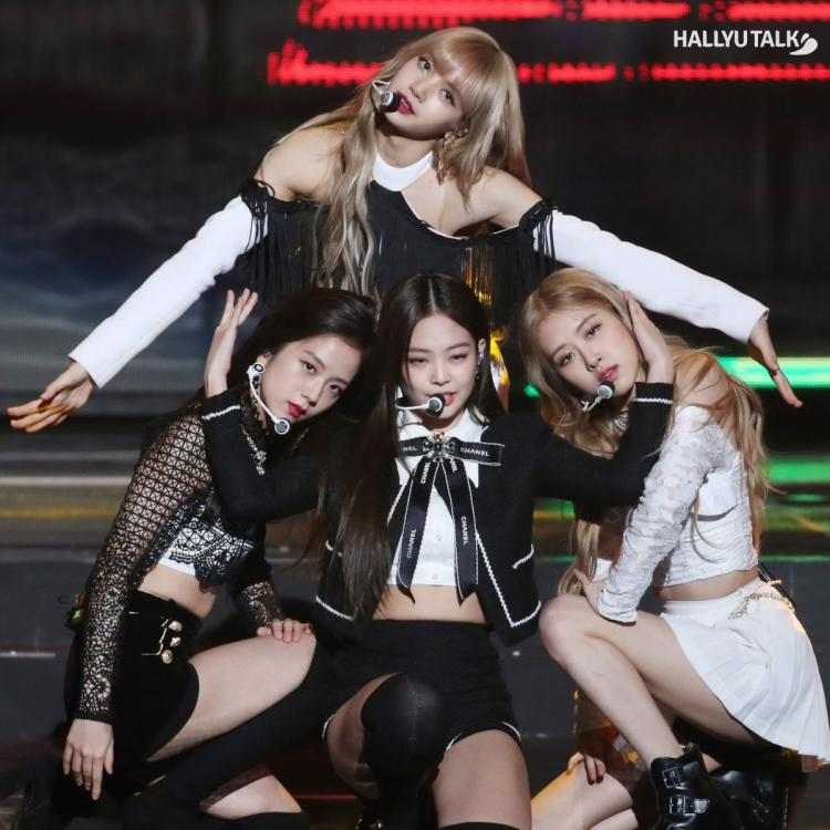 BLACKPINK performing at a music show