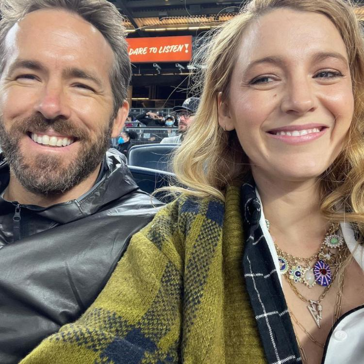 Blake Lively and Ryan Reynolds attend Yankees game in New York.