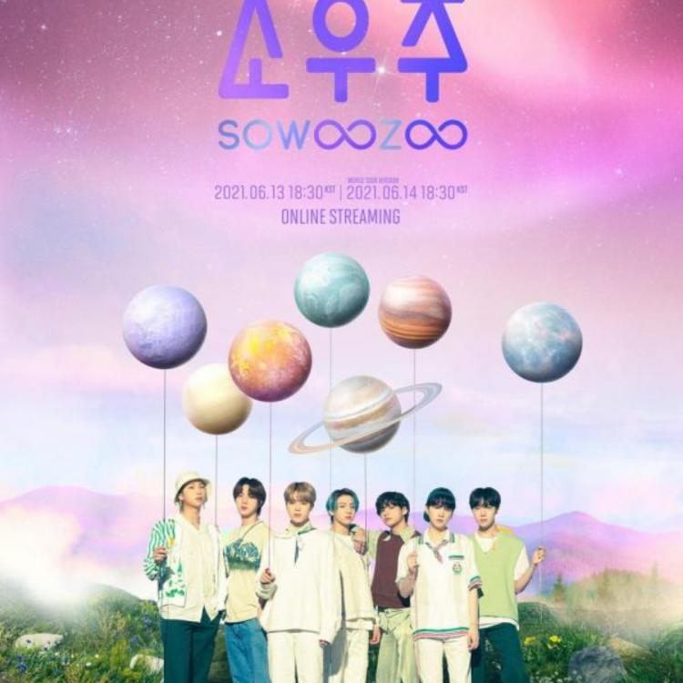 BTS members posing for the official poster of SOWOOZO