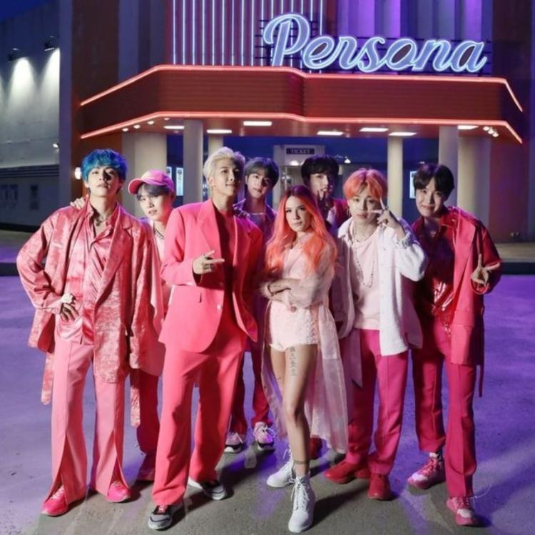 BTS and Halsey at the shoot for Boy With Luv