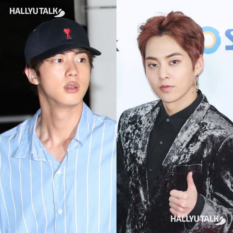 KPop idols BTS' Jin and EXO's Xiumin clicked by the media.
