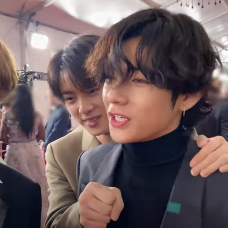 BTS singers Jin and V at the Grammys 2020