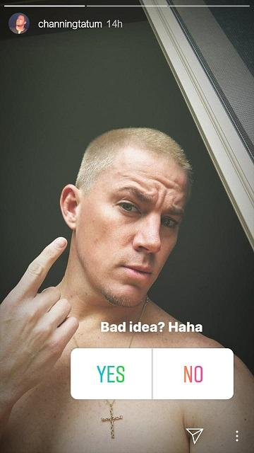 Channing Tatum shows off his new blonde hair on Instagram and reminds us of Eminem's famous buzz cut