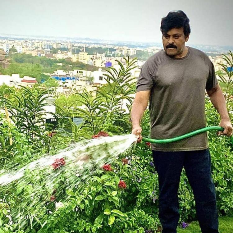 Chiranjeevi shares a picture of him watering the plants; calls it 'morning duty' during the 21 days lockdown
