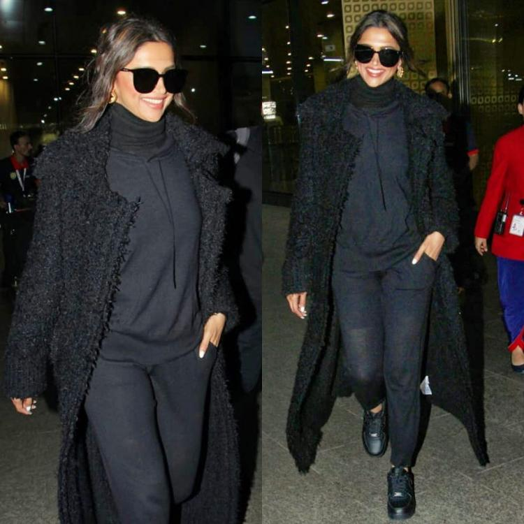 Deepika Padukone dressed up for a cosy flight in an all black athleisure attire & we're loving it; Yay or Nay
