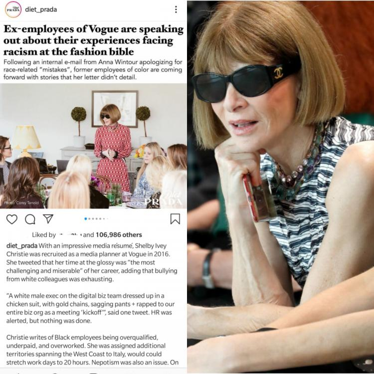 Vogue's Editor in Chief, Anna Wintour apologises for race related 'mistakes'; Employees of colour come forward