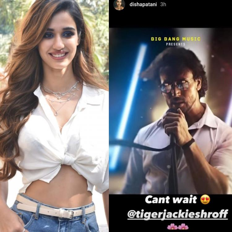 Disha Patani 'can't wait' for Tiger Shroff's singing debut as actor shares first motion post of the song