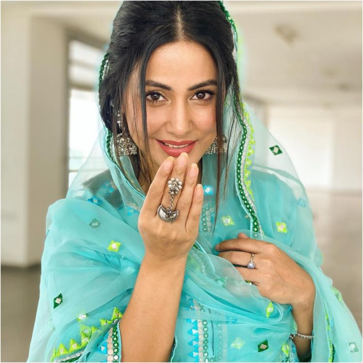 Eid Mubarak: Hina Khan dazzles in a sea blue traditional attire as she extends wishes to her fans