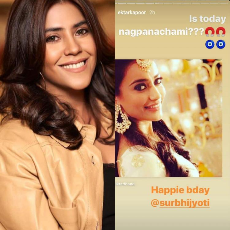 Ekta Kapoor sends birthday wishes to Surbhi Jyoti in most special way; Asks 'Is today nagpanachami?'