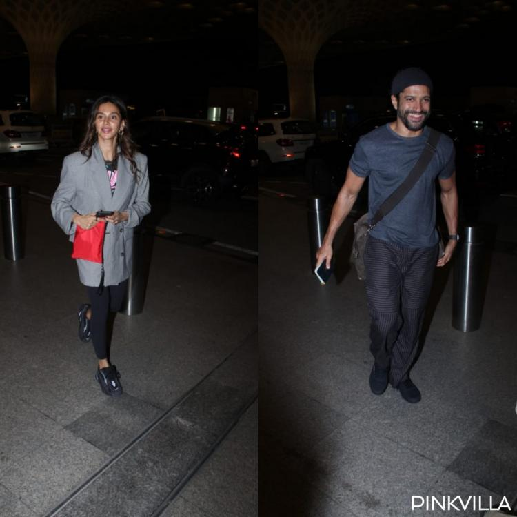 PHOTOS: Farhan Akhtar's daughter joins Shibani Dandekar and him at the airport; is a family vacation underway?