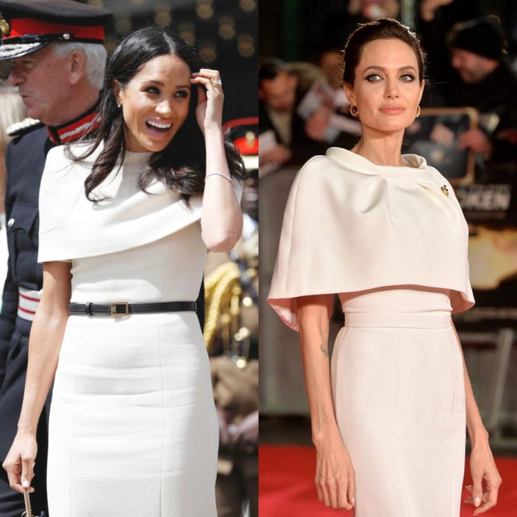 Fashion Faceoff: Meghan Markle or Angelina Jolie: Who wore the white cape style dress better?