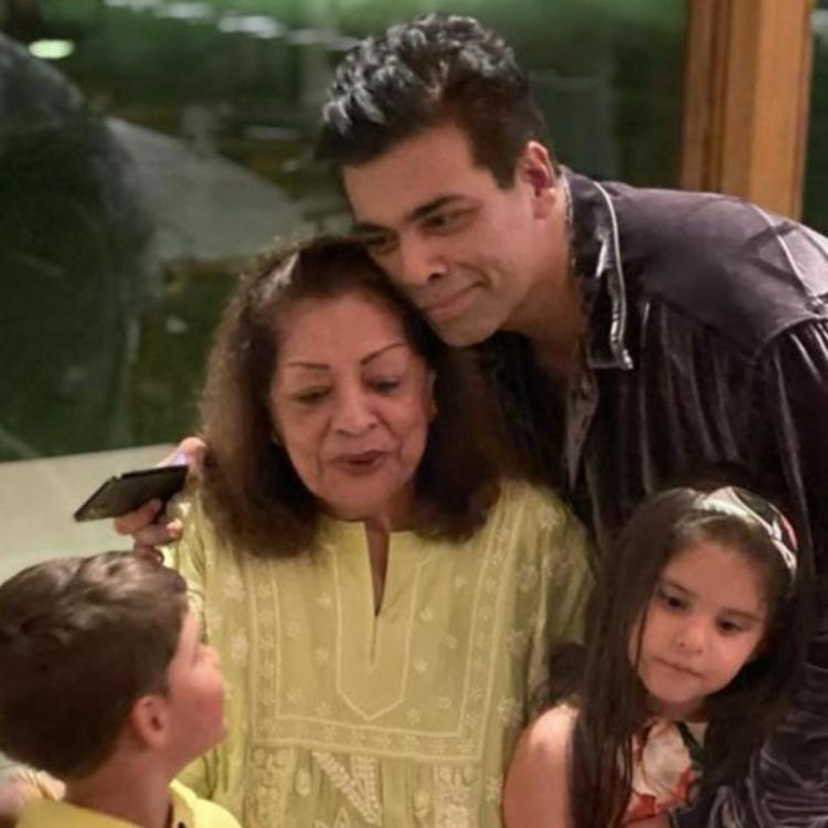 Karan Johar poses for an adorable family photo along with his mother and kids Yash and Roohi; Take a look