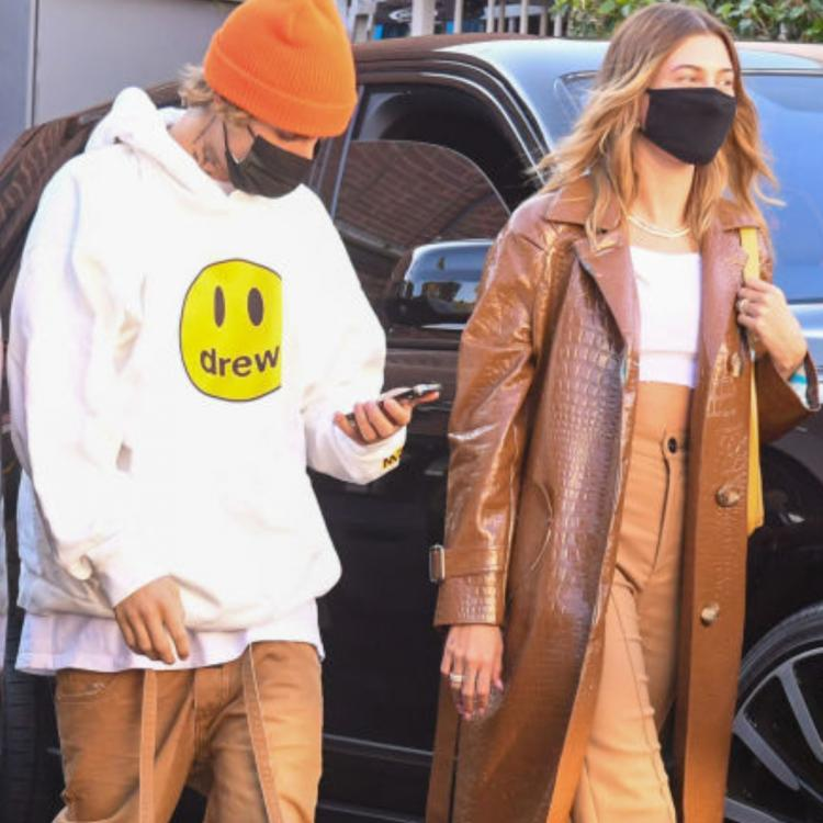 Hailey, Justin Bieber step out in style as they twin in Khaki.