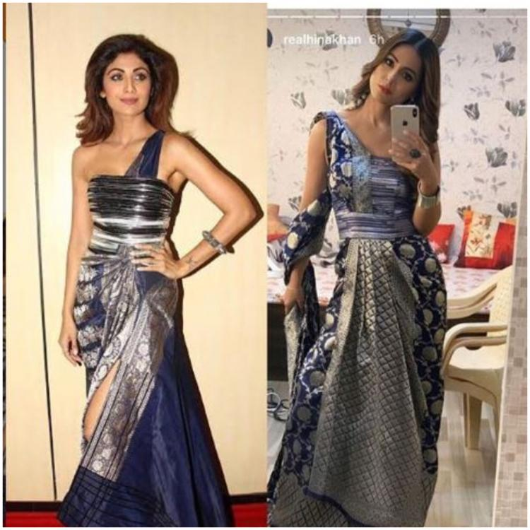 Hina Khan gets called out by Diet Sabya once again; this time for copying Shilpa Shetty