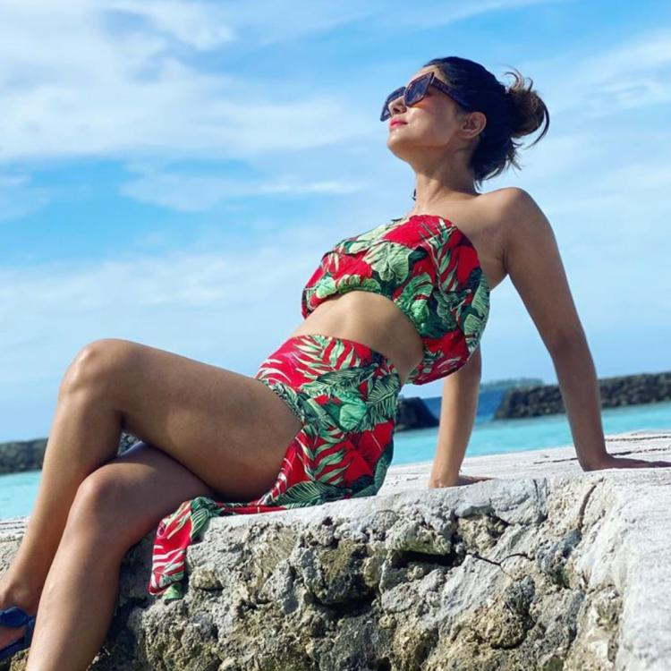 PHOTOS: Hina Khan dons a red and green bikini as she soaks up the sun in the Maldives; Check it out