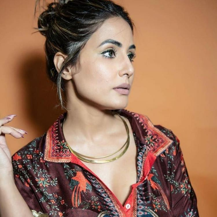 Hina Khan turns up the oomph in a multi coloured outfit in her latest PHOTOS