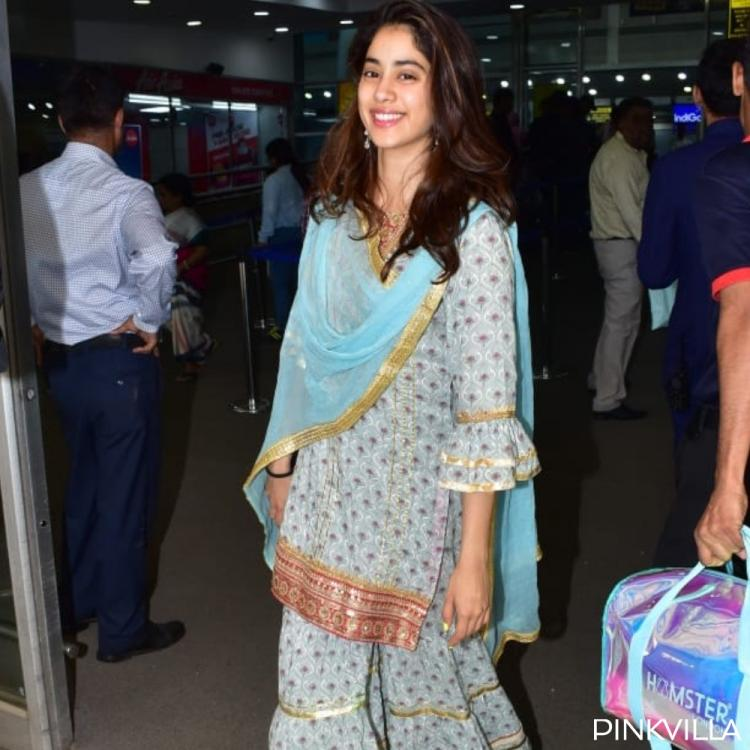 PHOTOS: Janhvi Kapoor paints a pretty picture in ethnic at the airport but it's her smile that steals the show