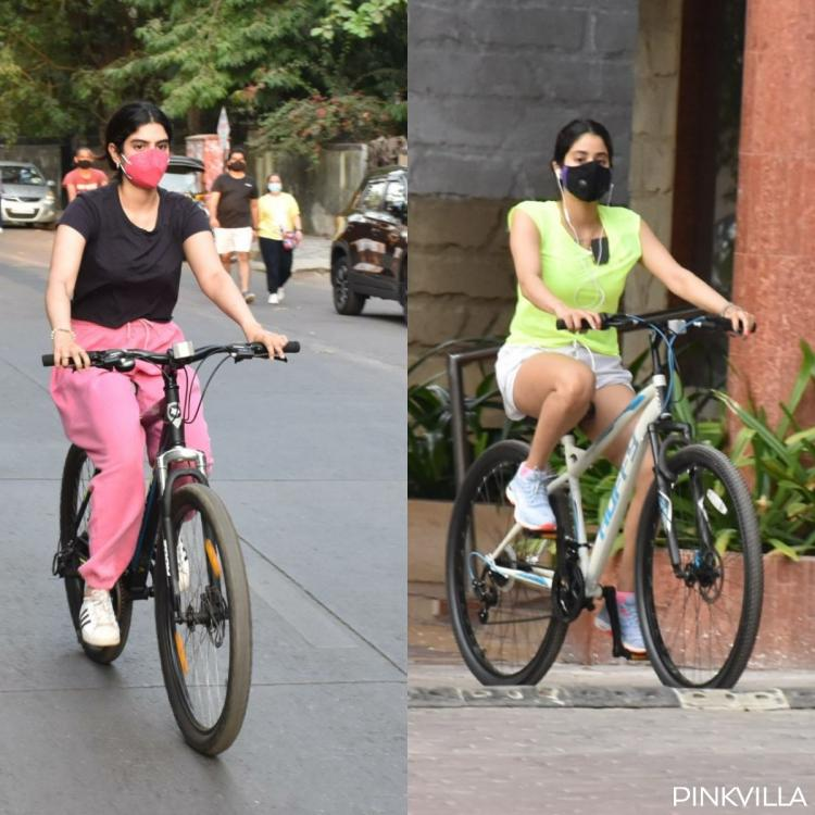 PICS: Janhvi Kapoor & Khushi add a pop of colour to their casual outfits as they head out for cycling in city