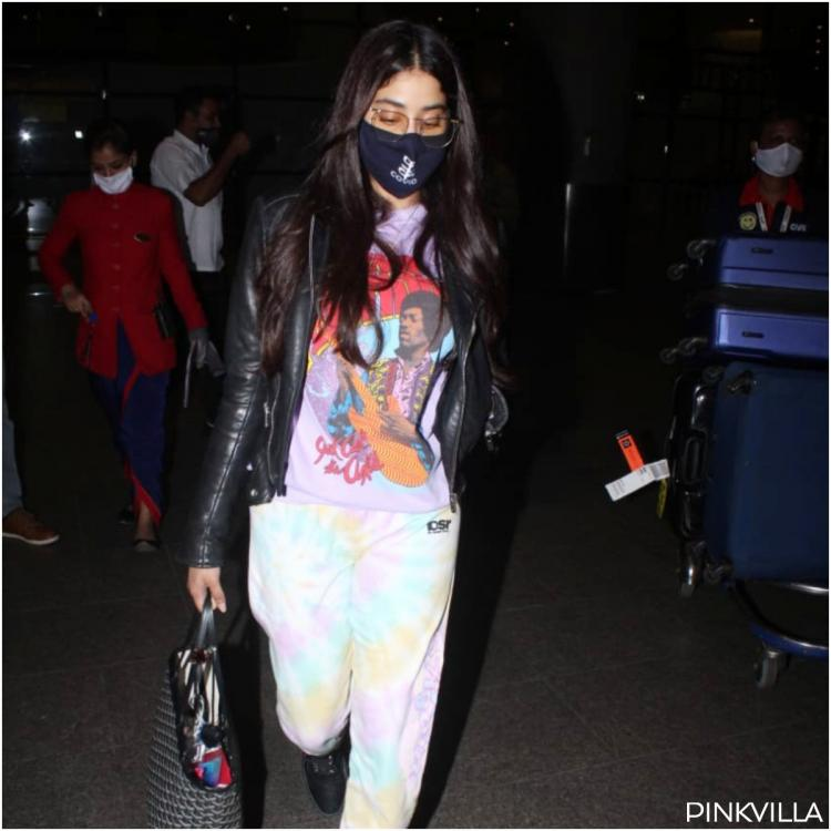 Janhvi Kapoor teams up tie dye PJ's with leather jacket as she returns to bay post visiting Khushi; PHOTOS