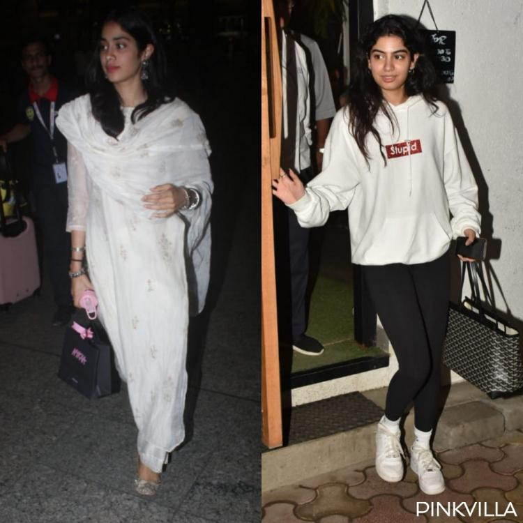 PHOTOS: Janhvi Kapoor keeps it elegant in a white salwar suit while Khushi Kapoor goes casual