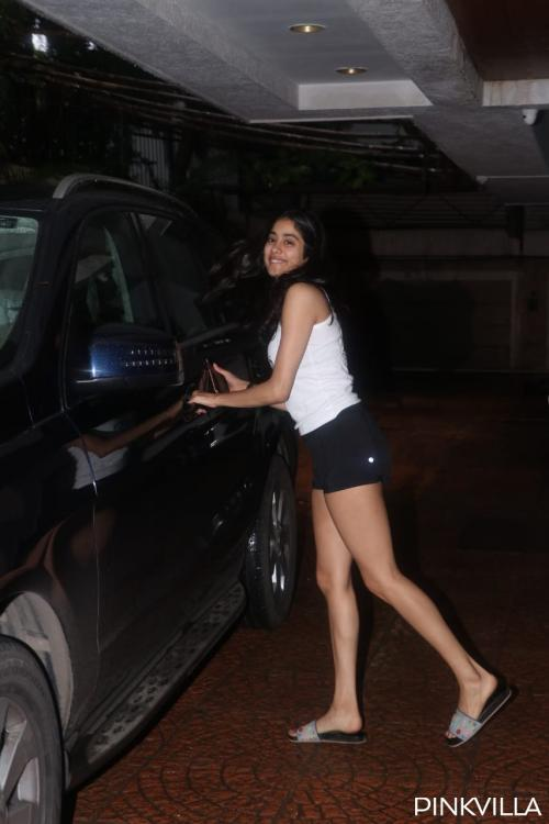 PHOTOS: Janhvi Kapoor slays her monochrome look in white tee and blacks shorts as she hits the gym