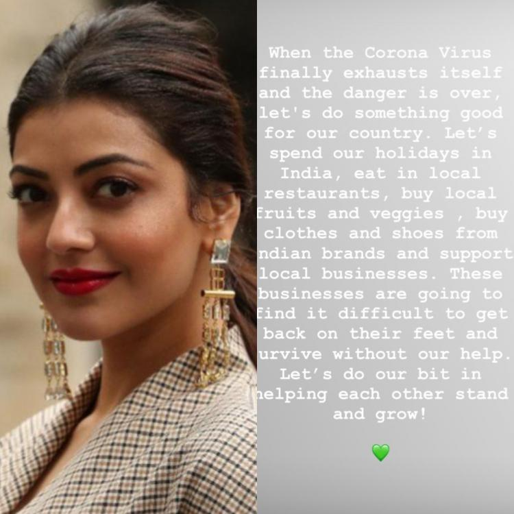 Kajal Aggarwal urges everyone to support local businesses & help them survive once the COVID 19 scare is over