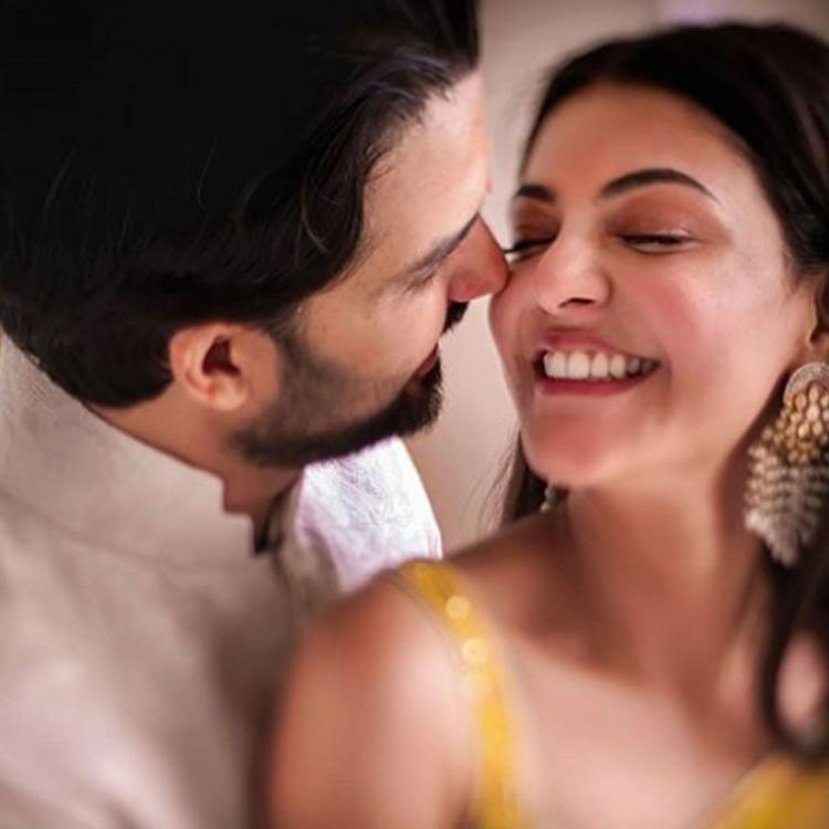 Soon to wed Kajal Aggarwal and Gautam Kitchlu look much in love in THIS candid pic from their haldi ceremony
