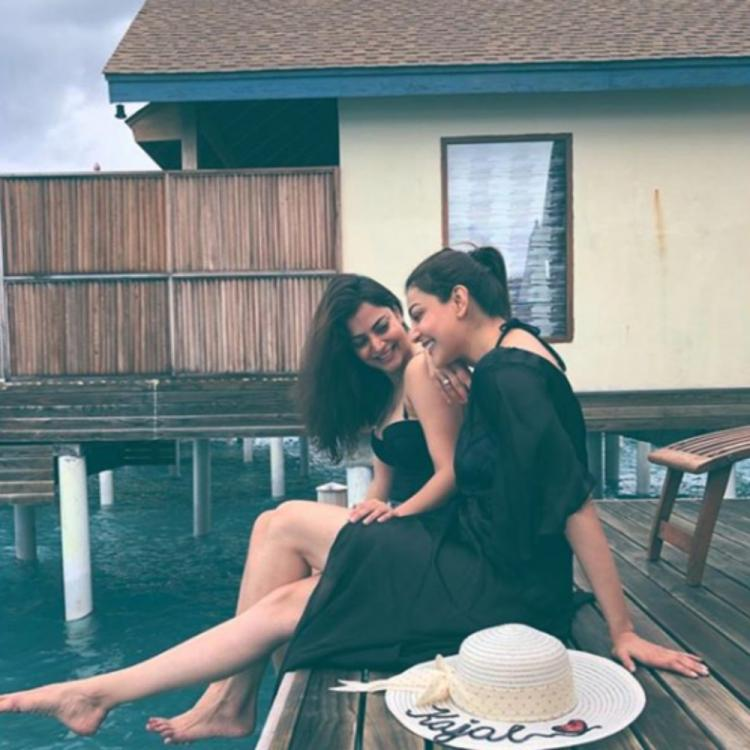 Kajal Aggarwal & sister Nisha twin in black outfits & chill by the sea during their Maldives vacay; View PICS