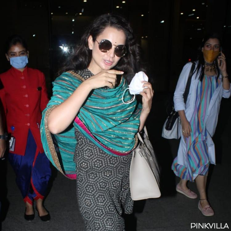 Kangana Ranaut styles up desi girl look with cool sunnies as she arrives for Thalaivi trailer launch; PICS