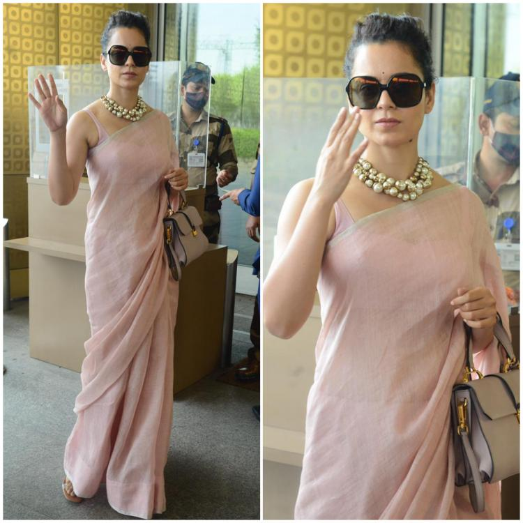Kangana Ranaut looks elegant as she boards an airplane in a pastel saree; Yay or Nay?