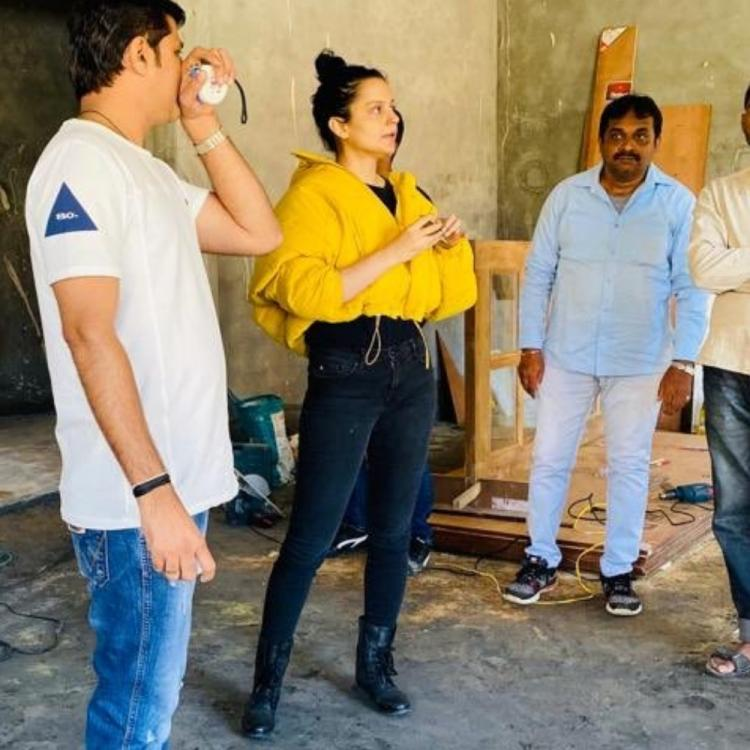Kangana Ranaut buzzes with excitement as she helps put finishing touches to Rangoli Chandel's house; WATCH