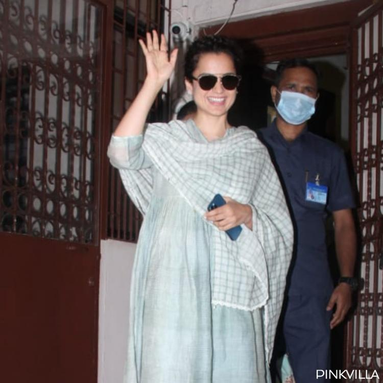 Kangana Ranaut looks pretty in pastel hued ethnicwear & cool shades as she steps out of dubbing studio; PHOTOS