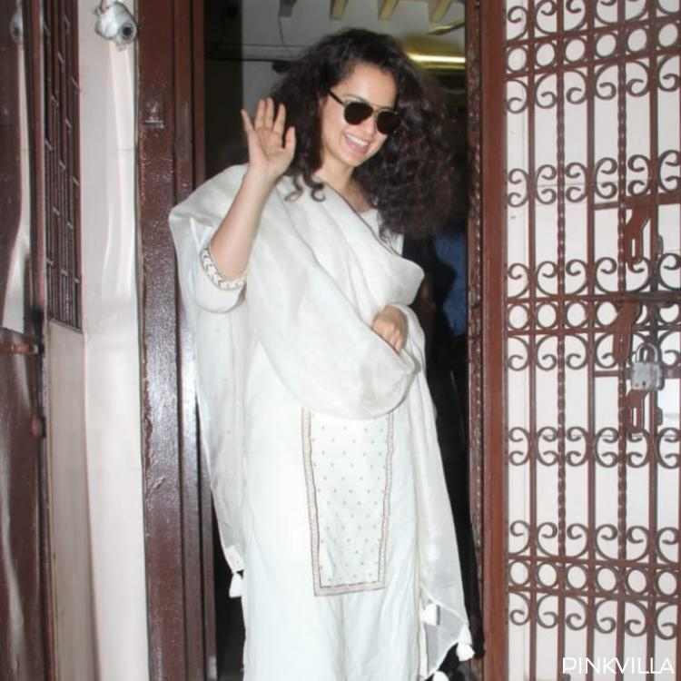 Kangana Ranaut looks gorgeous in an all white ethnic look with sunnies as she exits a dubbing studio; PHOTOS