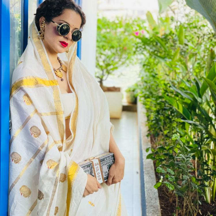 Kangana Ranaut's 'Money Clutch' steals the show in her white & golden saree look straight from her home; PICS