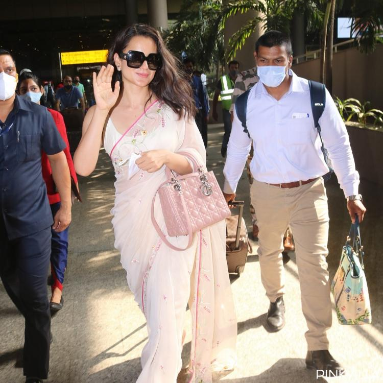Kangana Ranaut looks ethereal in a saree as she returns to bay after shooting for Tejas; PHOTOS