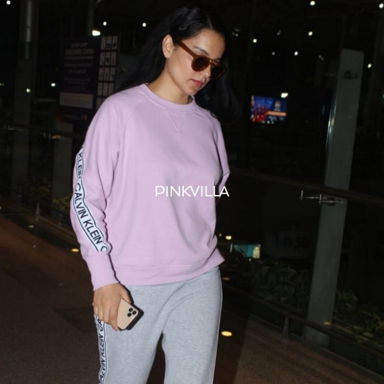 PHOTOS: Kangana Ranaut opts for a casual outfit for her airport look post shooting for Thalaivi in Hyderabad