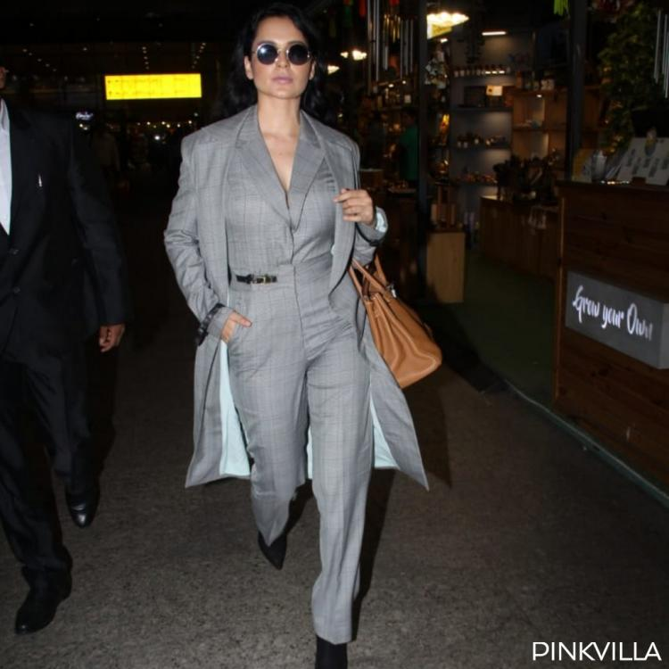 PHOTOS: Kangana Ranaut is giving out boss lady vibes as she layers her formal jumpsuit with a long coat